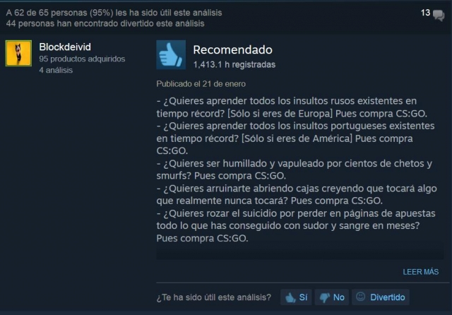 Counter Strike valoración steam graciosa