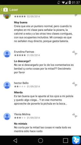 Laser comentario divertido google play