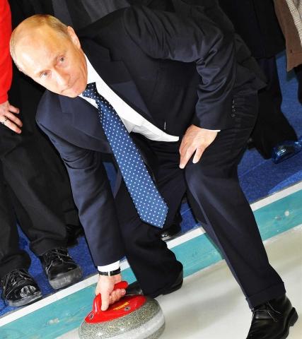 Putin jugando al curling