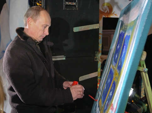 Putin pintando un cuadro