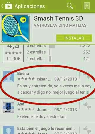 Smash Tennis 3D comentario divertido googleplay