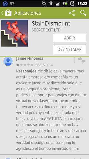 Stair Dismount comentario original google play