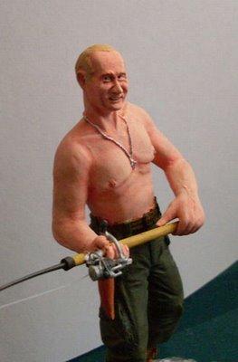 Muñeco de Putin pescando