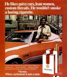 Anuncio viejo tabaco viceroy