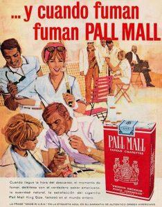 Publicidad Cigarrillos Pall Mall retro