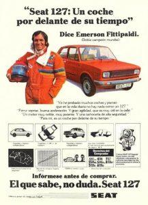 Publicidad antigua Seat Emerson Fittipaldi