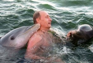 Putin nadando entre delfines