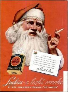 anuncio antiguo lucky strike papá noel