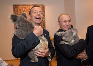 Putin abrazando un koala